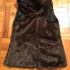 Jackets & Blazers - Brown Faux Fur Vest with Hood